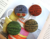 """Fabric Buttons, Large Button, Fridge Magnets, Script Buttons, Red Buttons, Flat Back, Vintage Label, Retro Buttons, Green Buttons, 1.5 """" 4's"""