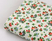 Waterproof Oilcloth Plastic Fabric - Off White Red Blue Flowers Floral OILCLOTH Plastic Fabric 36 x 14 Inches