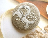 """Large Light Brown White Retro Victorian Font Initial Letter Alphabet Monogram """" P """"  Handmade Cloth Fabric Sew On Buttons 1.5 Inch"""