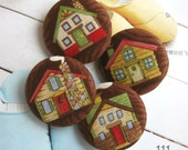 "Large Brown Colorful Country Home House Fabric Covered Buttons, Home Kitchen Fridge Magnets, Flat Backs, Mother Gift, 1.5"" 4's"