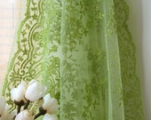 Retro Green Floral Flower Lace Sheer Net Wide Fabric Cloth 58 x 32 Inches LAST PIECE