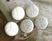 Retro Wedding Off White Flower Floral Lace Covered Fabric Buttons, Retro Wedding Floral Fridge Magnets, 1.25 Inches 5's