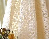 "Cotton Lace Fabric Trim - Wide Retro Cream Country Floral Flower Cotton Crochet Lace Net Fabric 60 x 19 """