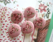 "Shabby Raspberry Pink Red Floral Flower Fabric Covered Buttons, Red Floral Flowers Fridge Magnets, Flat Backs, 1"" 5's"