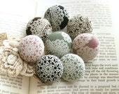 Handmade Victorian Country Retro Black Green Brown Pink White Floral Lace Fabric Covered Buttons Fridge Magnets,  CHOOSE SIZE 8's