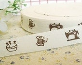 Pretty Sewing Machine Pin Cushion Thread Spool Design Cotton Ribbon Fabric Tape 1 Meter \/ 39 Inches
