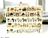Toy Train House Tree Horse Animal Travel Wooden Stamp Set