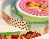Retro Children Number Heart Paper Label Deco Decor Tape Sticker