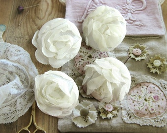 Handmade Victorian Rustic Large Wedding Off White Floral Flower Lace Fabric Covered Buttons Fridge Magnets, Flat Backs, 1.5 Inches 4's