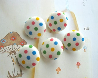 Handmade Country Retro Rainbow Colorful White Polka Dots Fabric Covered Buttons, Polka Dots Fridge Magnets, Flat Backs, 5's CHOOSE SIZE 5's