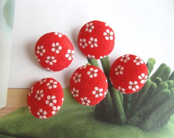 Handmade Country Red White Small Floral Flowers Fabric Covered Buttons, Red White Floral Flower Fridge Magnets, CHOOSE SIZE 5's