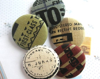 """Handmade Large Beige Blue Retro Postal Airmail Vacation Script Typo Fabric Covered Buttons, Vacation Fridge Magnets, Flat Backs, 1.25 """" 5's"""