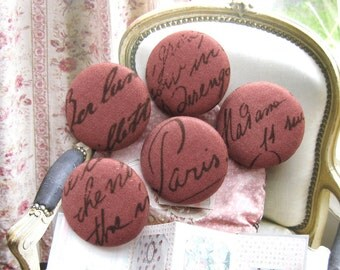Fabric Buttons, Large Retro Brick Red Brown French Script Word Fabric Covered Buttons, French Script Fridge Magnets, 1.25 Inches 5's