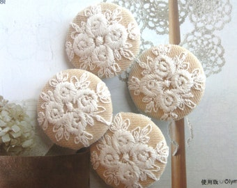"Fabric Buttons, Fridge Magnets, Wedding Magnets, Covered Buttons, Large Buttons, Beige Buttons, Lace Buttons, Wedding Buttons, 1.25 "" 4's"