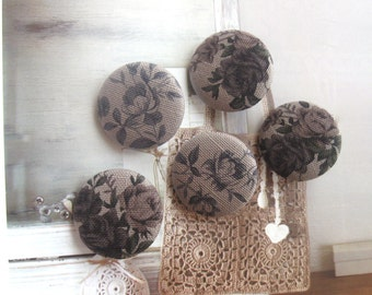 Handmade Large Victorian Rustic Dusty Brown Pink Floral Flower Fabric Covered Buttons Fridge Magnets, Flat Backs, 1.25 Inches 5's