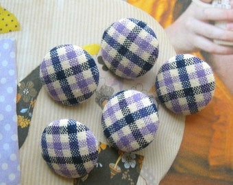 Fabric Buttons, Retro Country Purple Blue White Gingham Checks Fabric Covered Buttons, Country Checks Magnets, Flat Backs, CHOOSE SIZE 5's