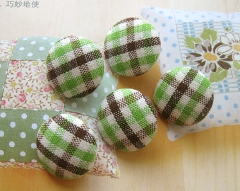 Fabric Buttons, Retro Country Green Brown White Gingham Checks Fabric Covered Buttons, Country Checks Magnets, Flat Backs, CHOOSE SIZE 5's