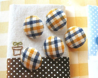 Fabric Buttons, Retro Country Yellow Blue White Gingham Checks Fabric Covered Buttons, Country Checks Magnets, Flat Backs, CHOOSE SIZE 5's
