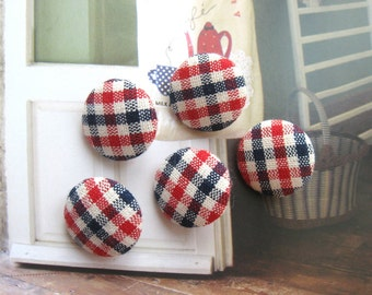 Fabric Buttons, Retro Dark Navy Blue Red White Gingham Checks Fabric Covered Buttons, Retro Gingham Checks Fridge Magnets, CHOOSE SIZE 5's