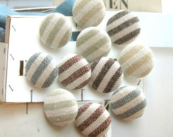 Retro Beige Brown Blue Green Off White Nautical Stripes Fabric Covered Buttons, Nautical Stripes Fridge Magnets, Flat Back, CHOOSE SIZE 10's