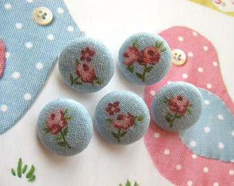 Handmade Country Sweet Small Blue Pink Rose Floral Flower Fabric Covered Button Fridge Magnets, 1 Inch 5's