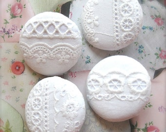 """Handmade Large Country Rustic Off White Floral Flower Cotton Lace Fabric Covered Buttons, White Floral Lace Fridge Magnets, 1.5 """" 4's"""