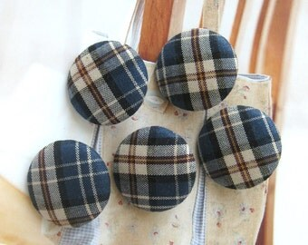 Fabric Buttons, Retro Dark Blue Brown Cream Plaid Checks Fabric Covered Buttons, Preppy Blue Checks Plaid Fridge Magnets, CHOOSE SIZE 5's