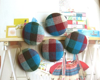 Fabric Buttons, Retro Blue Red White Gingham Checks Plaid Fabric Covered Buttons, Gingham Checks Fridge Magnets, Flat Backs, CHOOSE SIZE 5's