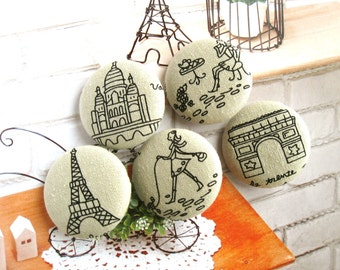 "Handmade Large Retro Beige Black France Paris Eiffel Tower Postal Airmail Travel Fabric Covered Button Fridge Magnet, 1.25"" 5's"