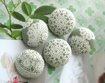 Handmade Victorian Retro Wedding Green Off White Floral Flower Lace Fabric Covered Buttons, Brown Floral Fridge Magnets, CHOOSE SIZE 5's