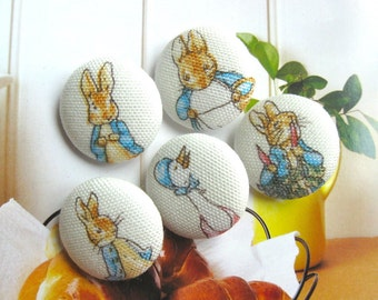 Handmade Country Peter Rabbit Story Children Fabric Covered Buttons, Peter Rabbit Cartoon Children Fridge Magnets, 1.1 Inch 5's