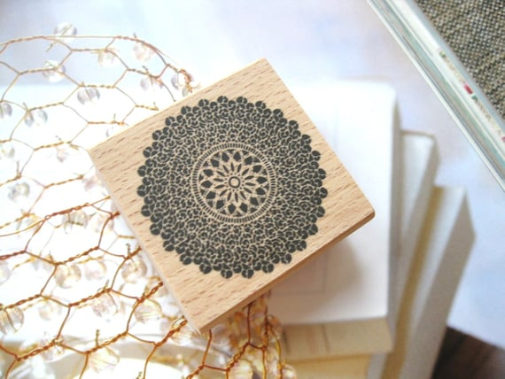 Wooden Wood Rubber Stamp -  Round Victorian Floral Flower Swirl Motif Wooden Rubber Stamp