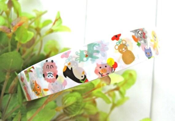 Kawaii Rainbow Colorful Balloon Pig Panda Bear Cat Animal Deco Tape Scrapbook Stickers LAST
