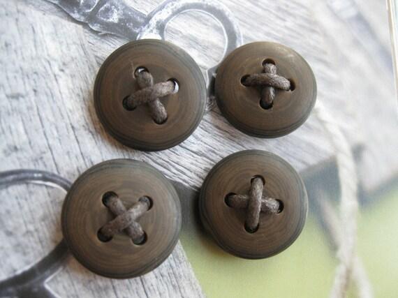 Large Round Dark Brown Cross Thread Plastic  Buttons Set - 4's LAST SET
