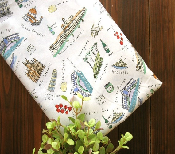 Cotton Fabric Off White Europe Italy Famous Landscape Food