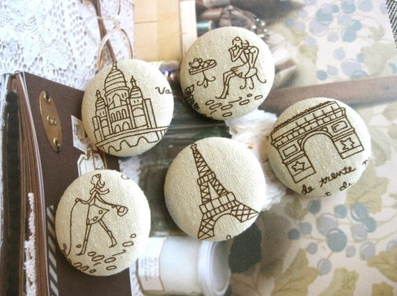 """Fabric Buttons, Retro Beige Brown Paris French Tour Eiffel Fabric Covered Buttons, Paris French Fridge Magnets, Flat Backs Buttons, 1.5"""" 5's"""