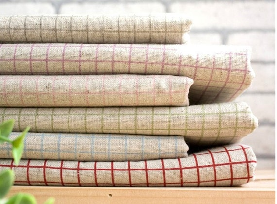 """Cotton Linen Fabric - Red Blue Green Grey Beige Grid Notebook Squares Checks SMALL Fat Quarters Cotton Linen Fabric 6's  28 x 18 """" Each LAST"""