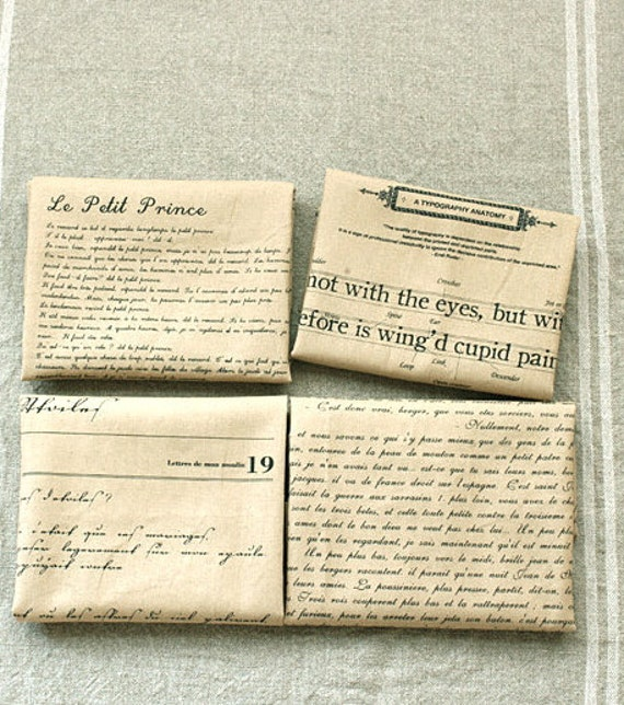 Cotton Linen Fabric Cloth - Beige Cream Black French Script Words Letter Typo Le Little Petit Prince Fabric 4 Panels