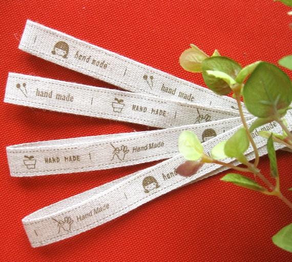 Cotton Fabric Tape Ribbon - Beige Brown Khaki Children Sewing Bag Handmade Tape Label