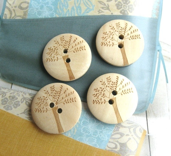 Wood Wooden Buttons - Large Nature Tree Wooden Buttons Set - 4's LAST SET