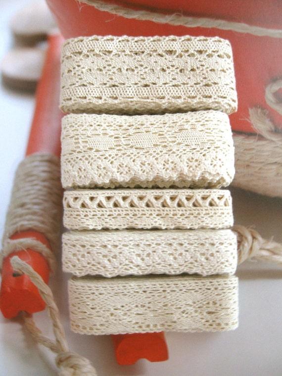 Cotton Lace Fabric Trim -  Beige Cream Floral Crochet Cotton Net Lace Ribbon Trim 5 Designs Set 10 Meters
