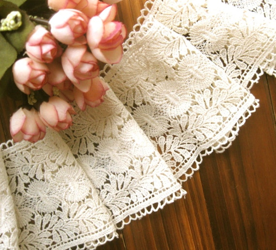 Cotton Lace Fabric Trim - Wide Light Cream Floral Scallop Lace Fabric Cloth TRIM 4 Inches 1 Meter - Nicole