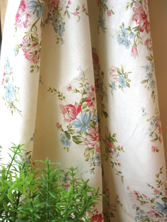 Cotton Linen Fabric Cloth - Country Light Cream Pink Blue Flower Floral Cotton Linen Fabric Cloth 56 x 19 Inches