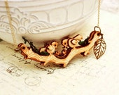 Whimsical Birds in spring necklace - MOVABLE wooden bird forest pendant - SixAstray