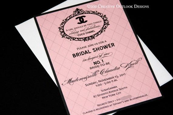 Classic coco chanel wedding baby bridal shower invitation for Classic bridal shower invitations