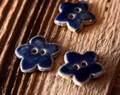 Set of 3 Denim Blue Flower Buttons - Handmade Pottery