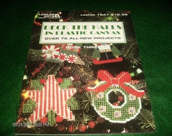 Plastic Canvas Pattern Leaflet Deck the Halls in Plastic Canvas Book Three Leisure Arts 1541 Plastic Canvas Booklet