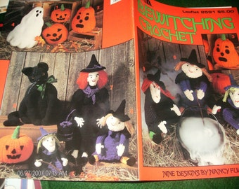 Halloween Crocheting Patterns Bewitching Crochet Leisure Arts 2591 Pattern Leaflet Nancy Fuller