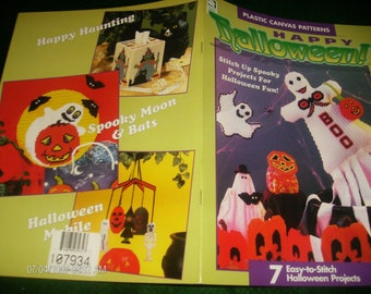 Plastic Canvas Holiday Patterns Happy Halloween House of White Birches 181010 Pattern Leaflet