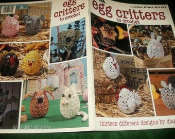 Thread Crochet Patterns Egg Critters Leisure Arts 2341 Crocheting Pattern Leaflet
